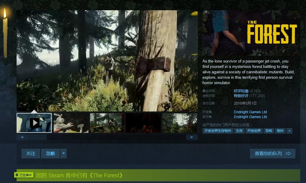 迷失森林·The Forest·steam游戏·联机开黑必备可以加好友|STEAM游戏租号|STEAM游戏借号-租号册
